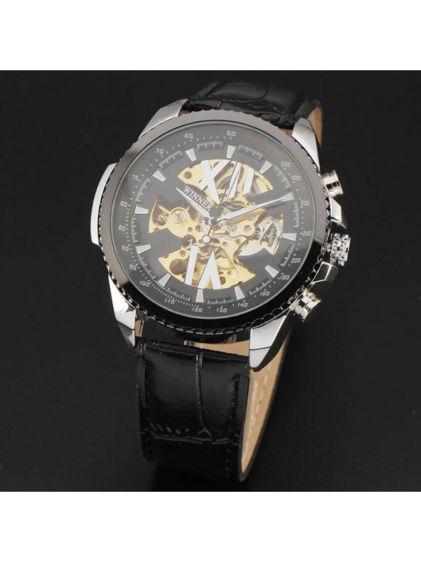 2015 New Skeleton Watches Men Luxury Brand Tachymeter A