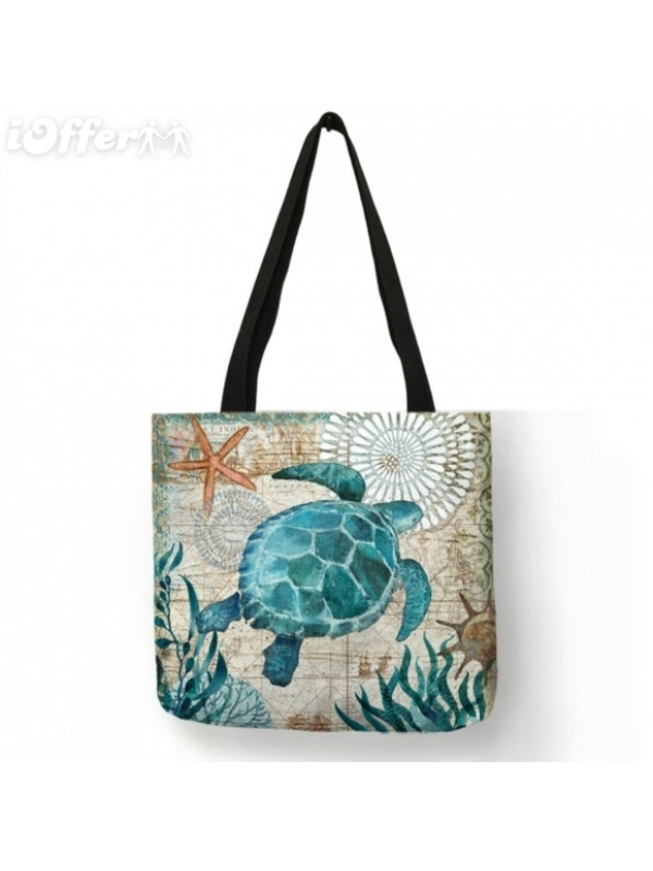 Customize Tote/Shoulders Bag Seahorse Turtle Octopus