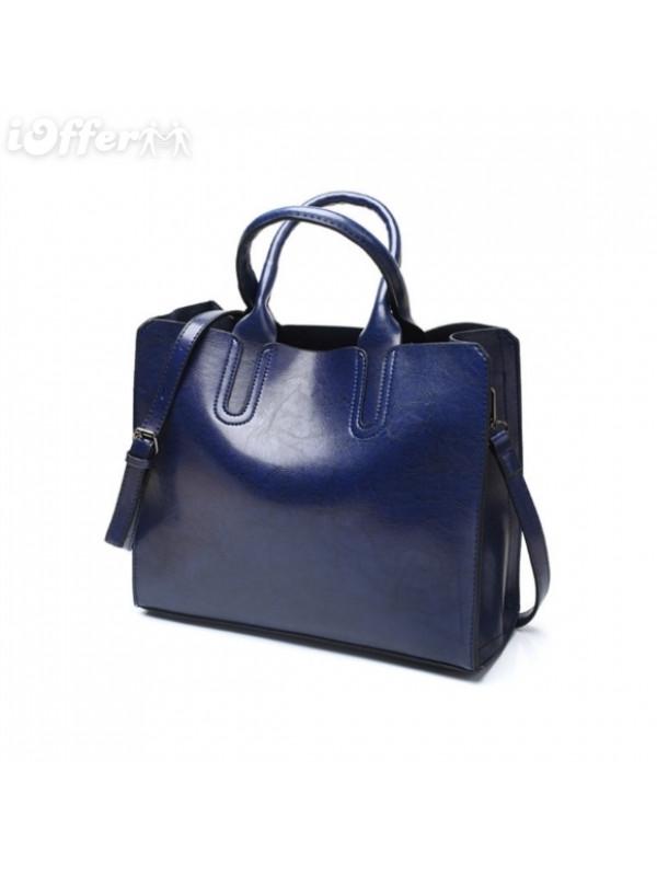 Leather Drop Handle Casual Trunk Tote Handbag Bag with Shoulder Strap