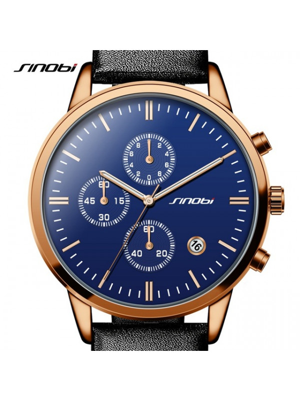 SINOBI Fashion Multifunction Mens Wrist Watches Leather