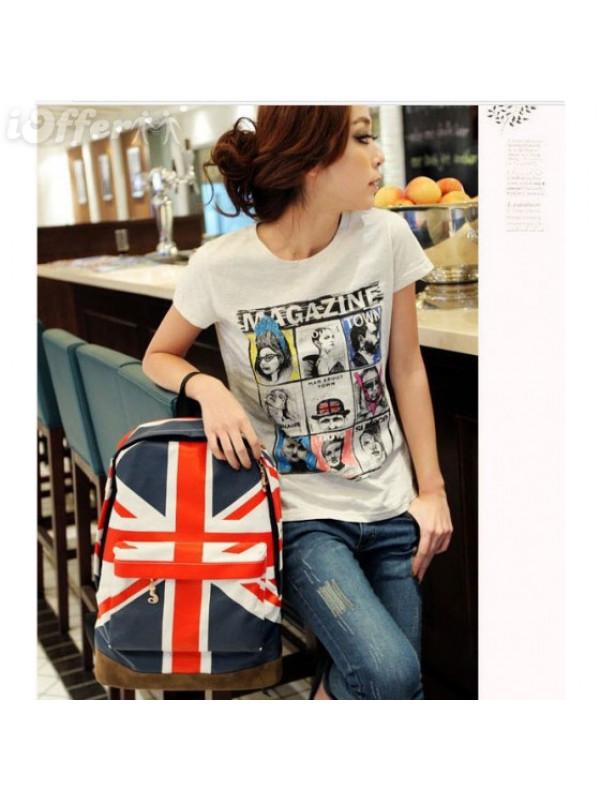 US-UK Flag Starry Star Style Backpack Shoulder School